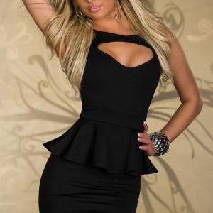 Sexy Black Peplum Dress
