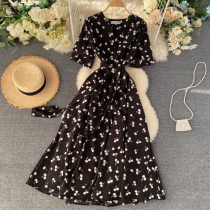 Cherry Print Vintage Style Summer D..