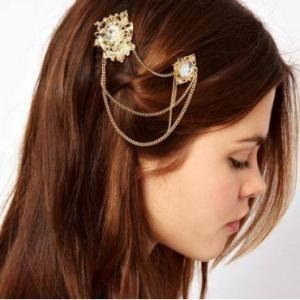 Metallic Gold Crystal Hair Accesso..