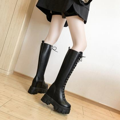 Autumn and Winter PU Leather Knee H..