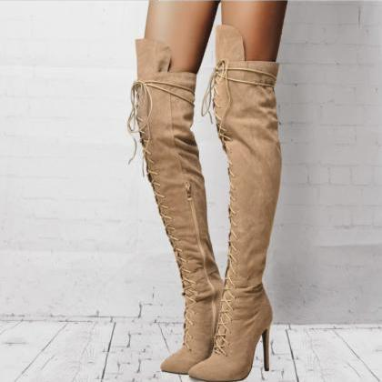 Over the Knee Lace up Pointed Toe H..