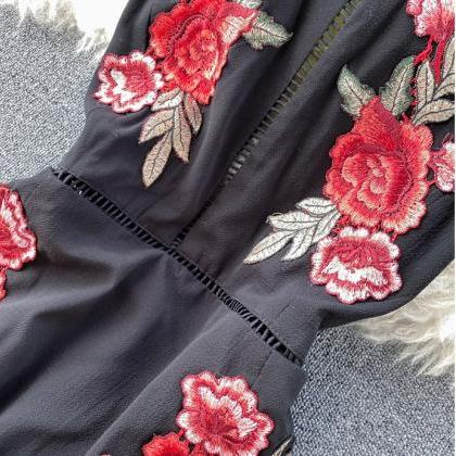 Halter Openb Back Floral Embroidery..