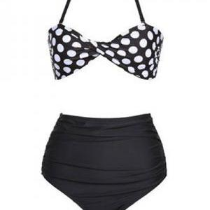 Twisted Bow Black Polka dots Design..