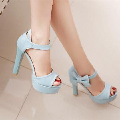 Stylish High Heel Ankle Strap Blue ..
