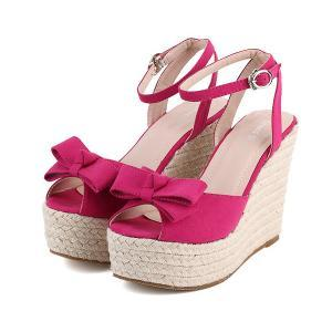 Stylish Ankle Strap Bow Design Wedg..