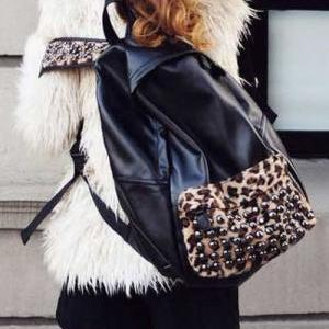 Stylish Rivet Leopard print and Bla..
