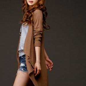 Casual Coffee Colored Long Sleeve C..