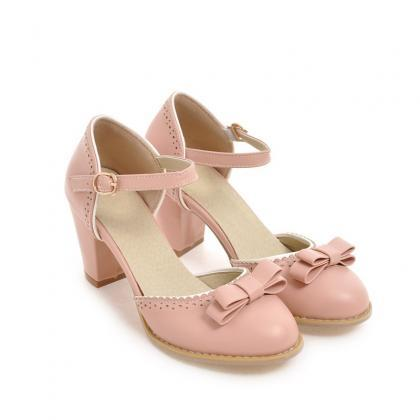 Cute Chunky Heel Pink Shoes with Bo..