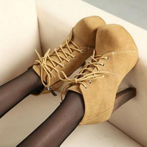 Chic Suede Lace Up High Heel Boots