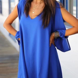 Bohemian Style V Neck High Low Dres..