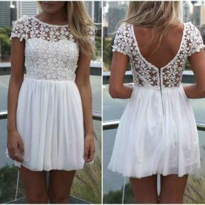 White Floral Lace and Chiffon Pleat..