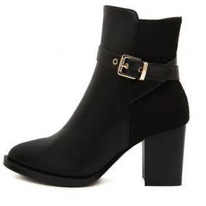 Stylish Black Buckle Design Chunky ..