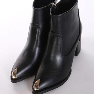 Black Leather Pointed Toe Ankle Boo..