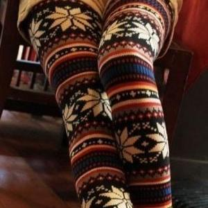 Cute Printed Warm Leggings for Autu..