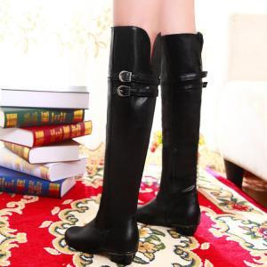 Over the Knee Black Buckle Design W..