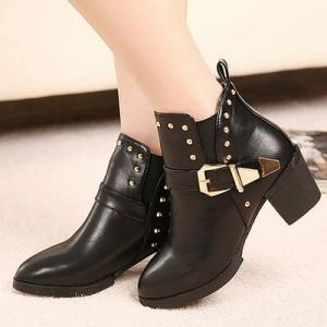 Black Buckle Design Ankle Boots Fea..