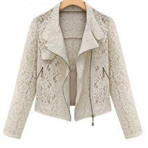Gorgeous Lace Pattern Beige Jacket