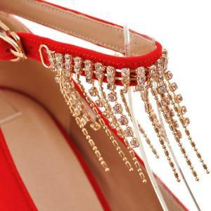 Red Rhinestone Embellished Wedge Sh..
