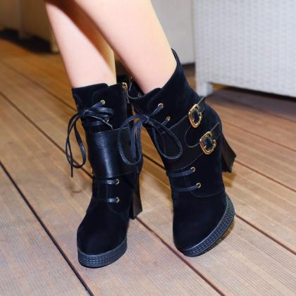 black round toe lace up high heel winter boots on luulla