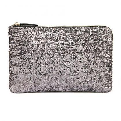 Silver Sequined Wristlet Clutch wit..