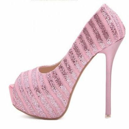 Luxury Design Pink Peep toe High He..