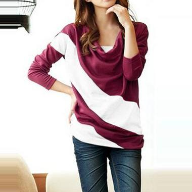 Chic Color Block Casual Long Sleeve..