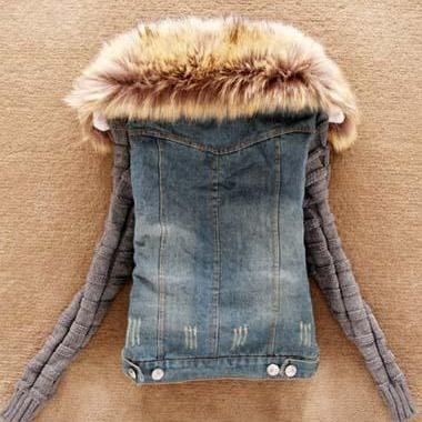 Hooded Faux Fur Design Patchwork De..