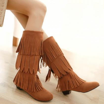 Tiered- Fringe Knee-Length Suede Bo..