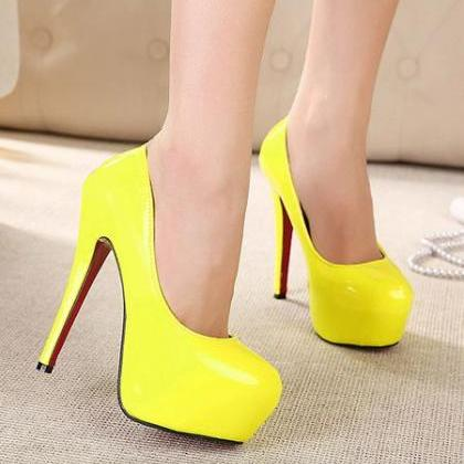 Sexy Neon Yellow High Heels Shoes on Luulla