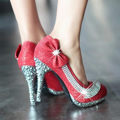Red Rhinestone and Bow Embellished ..