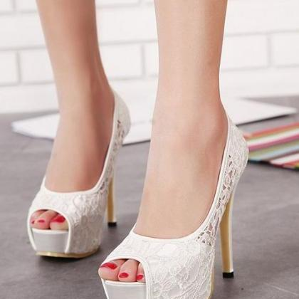 Peep Toe Lace Stiletto Pumps
