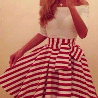 Off Shoulder Red and White Striped ..