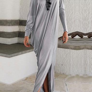 Grey Long Sleeve Off Shoulder Maxi ..