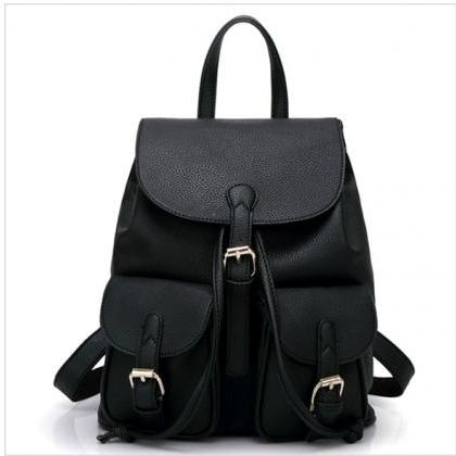 PU Leather Backpack with Two Pocket..