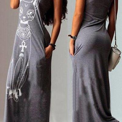 Sleeveless Animal Print Maxi Dress