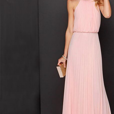 Gorgeous Pink Chiffon Maxi Dress