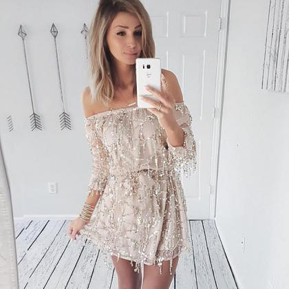 Sexy Off Shoulder Sequins Party Dre..