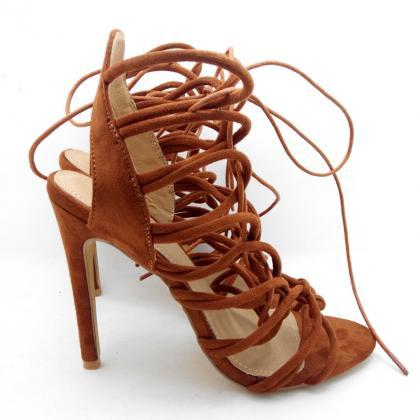 Leather Lace-Up High Heel Sandals