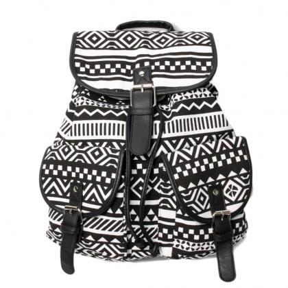 Black Aztec Design Women's Backpack..