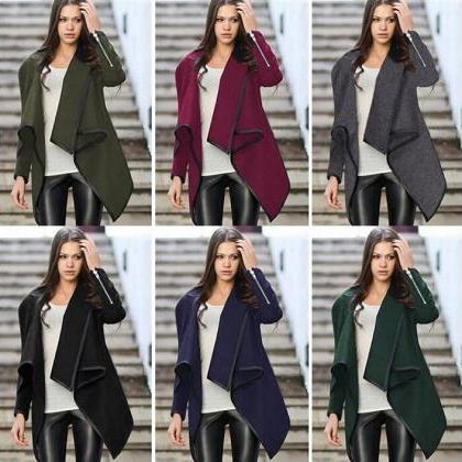Stylish Irregular Hem Coat for Wome..