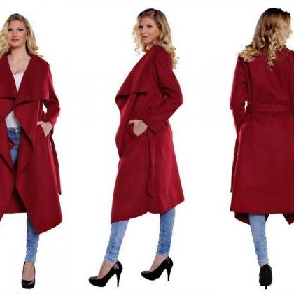 Women's Simple Ruffled Trench Coat ..