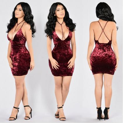 Sexy Deep V Neck Red Velvet Party D..