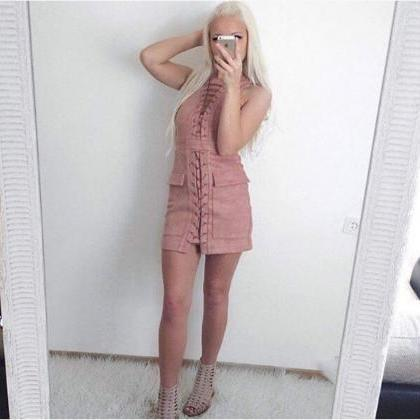 Sleeveless Lace up Sexy Dress