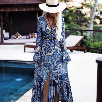 Blue Printed Long Sleeve Bohemian M..