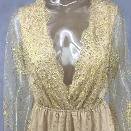 Gorgeous Gold Lace V Neck Long Slee..