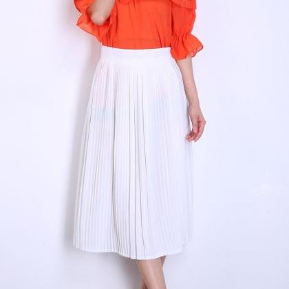 Pleated A-line Midi Skirt