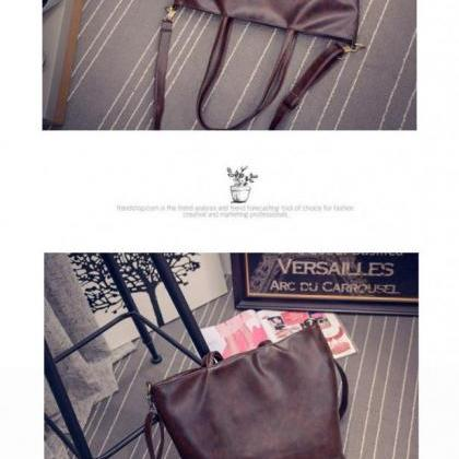 Vintage Design Leather Casual Handb..