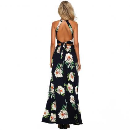 Boho Floral Print Dark Blue Summer ..
