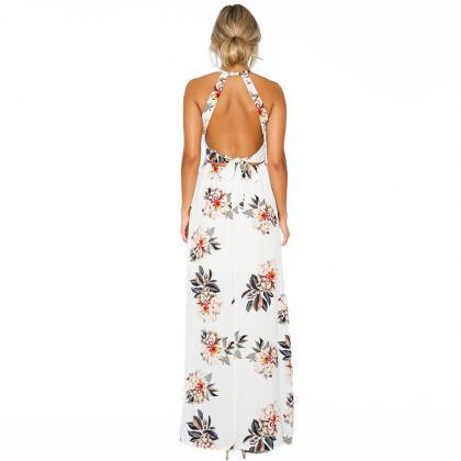 White Floral print Boho Long Dress