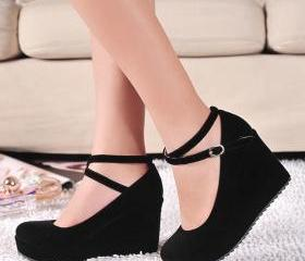 Cross Strap Wedge Sh..